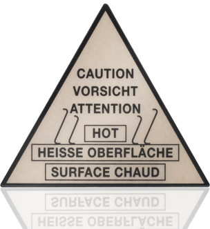 Back-printed plastic technical label